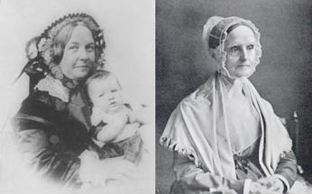 Elizabeth Cady Staton (left) and Lucretia Mott (right).