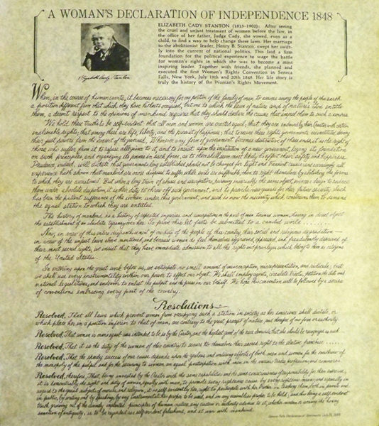 differences between declaration of independence and seneca falls resolutions At the wesleyan chapel in seneca falls  stanton's declaration was modeled closely on the declaration of independence  the ninth resolution.